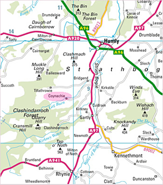 Local map showing Coynachie Guest House