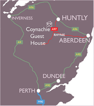 Map of Scotland showing Coynachie Guest House